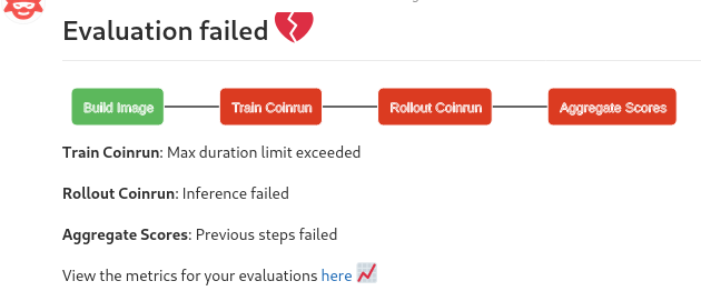 evaluation logs with timed out error